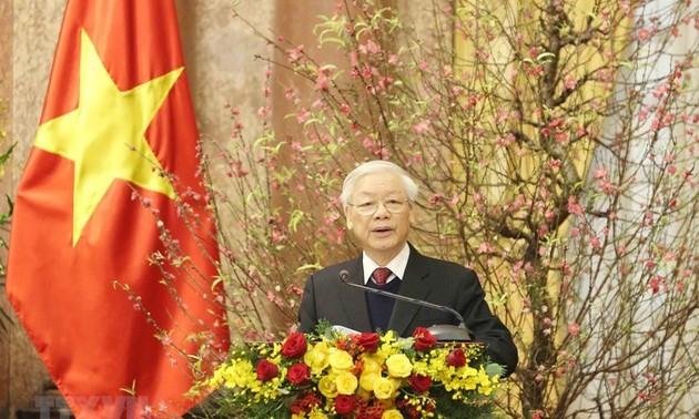 Mensaje de felicitación del máximo dirigente de Vietnam en ocasión del Año Nuevo Lunar 2021