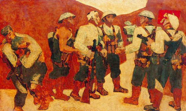 Nguyen Sang's lacquer painting 'Party admission ceremony on the Dien Bien Phu battlefield' - an epic