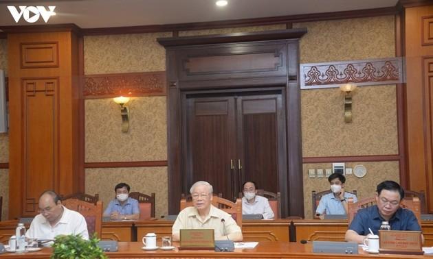 Tổng Bí thư Nguyễn Phú Trọng chủ trì cuộc họp lãnh đạo chủ chốt về tình hình dịch Covid-19