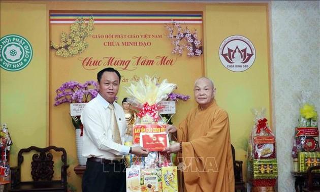 Vœux de Têt au président du Conseil d'administration de l'Église bouddhique du Vietnam