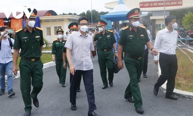 รองนายกรัฐมนตรี หวูดึ๊กดาม ลงพื้นที่ตรวจสอบการป้องกันและรับมือการแพร่ระบาดของโรคโควิด – 19 ในจังหวัดบิ่งเยือง