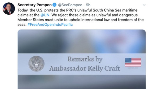 US protests China's baseless territorial claims in the East Sea