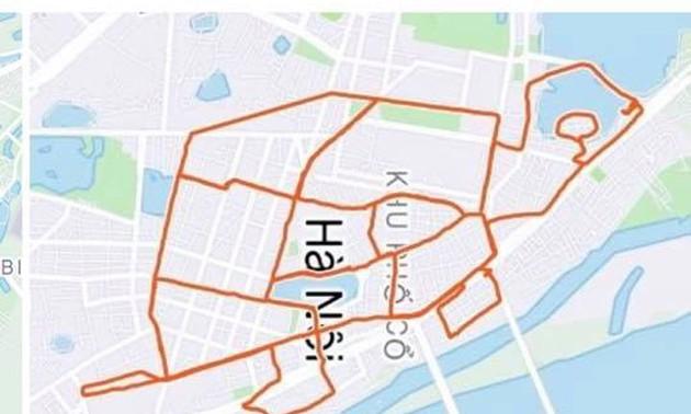 """Hanoian creates 'Strava art"""" by running around capital"""