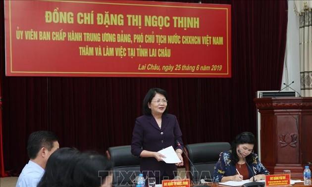 Phó Chủ tịch nước Đặng Thị Ngọc Thịnh thăm và làm việc tại tỉnh Lai Châu