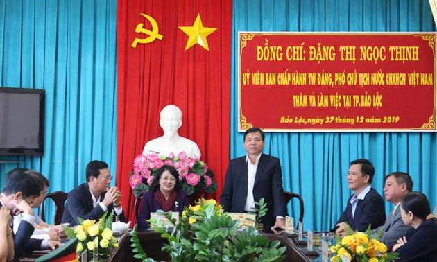 Phó Chủ tịch nước Đặng Thị Ngọc Thịnh làm việc tại thành phố Bảo Lộc (Lâm Đồng)