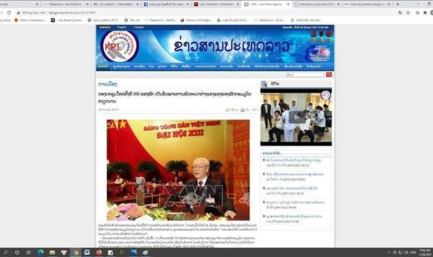 Báo Lào khẳng định Đại hội XIII đánh dấu sự phát triển mạnh mẽ của Đảng Cộng sản Việt Nam