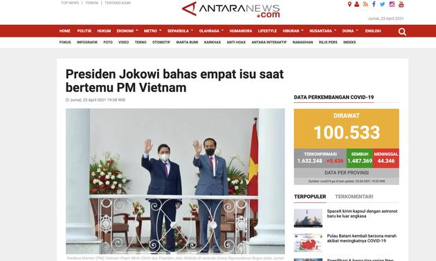 Truyền thông quốc tế: Lãnh đạo mới của Việt Nam thúc đẩy quan hệ Đối tác chiến lược với Indonesia