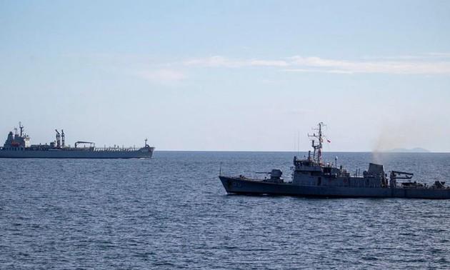 Fuerzas navales del Cuarteto y Francia realizan ejercicios en el océano Índico