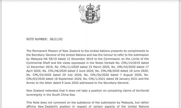 นิวซีแลนด์ส่งหนังสือปฏิเสธข้อเรียกร้องสิทธิประวัติศาสตร์ในทะเลตะวันออกถึงสหประชาชาติ