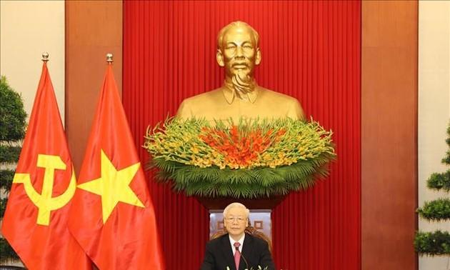 KPV-Generalsekretär Nguyen Phu Trong telefoniert mit seinem kubanischen Amtskollegen