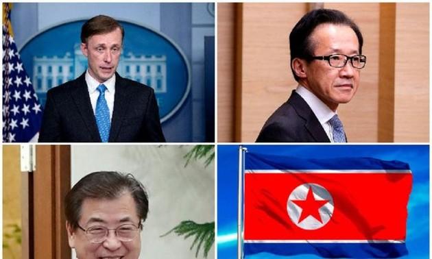 Corea del Sur, Japón y Estados Unidos acuerdan resolver pacíficamente el asunto nuclear norcoreano