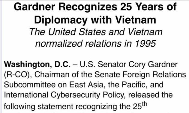 Сенатор США сделал заявление, посвященное 25-летию нормализации отношений Вьетнама и США