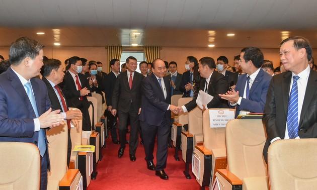 Thủ tướng Nguyễn Xuân Phúc dự Hội nghị triển khai nhiệm vụ ngân hàng năm 2021
