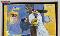 Выставка картин, написанных вьетнамскими художниками во время социального дистанцирования
