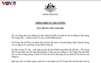 Primer ministro australiano transmite felicitación en vietnamita por la Fiesta del Medio Otoño