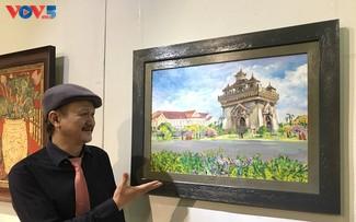 Triển lãm tranh của họa sỹ Lê Dũng Cường về đất nước Lào