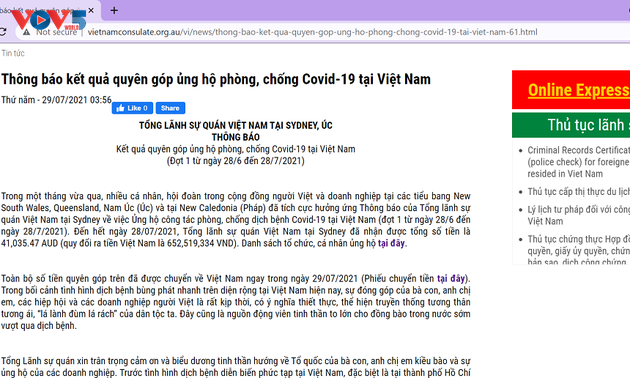 Kiều bào ở Australia quyên góp ủng hộ chiến dịch chống COVID-19 tại Việt Nam