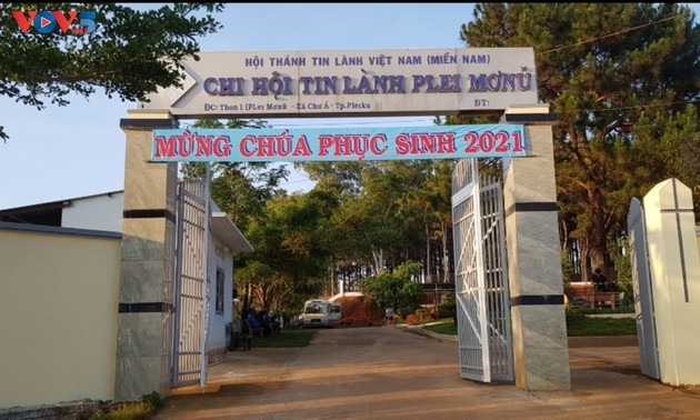 Plei Mo Nu Protestant church in Pleiku city