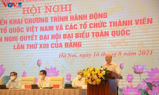 แนวร่วมปิตุภูมิเวียดนามปฏิบัติมติของการประชุมสมัชชาใหญ่พรรคฯสมัยที่ 13