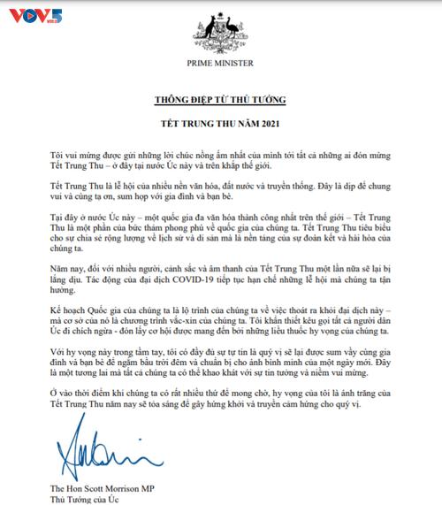 Primer ministro australiano transmite felicitación en vietnamita por la Fiesta del Medio Otoño - ảnh 1