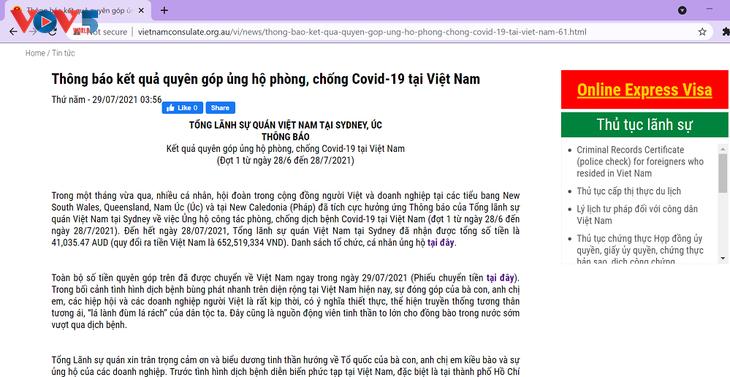 Perantau Vietnam di Australia Menyumbang untuk Mendukung Upaya Melawan COVID-19 di Vietnam - ảnh 1