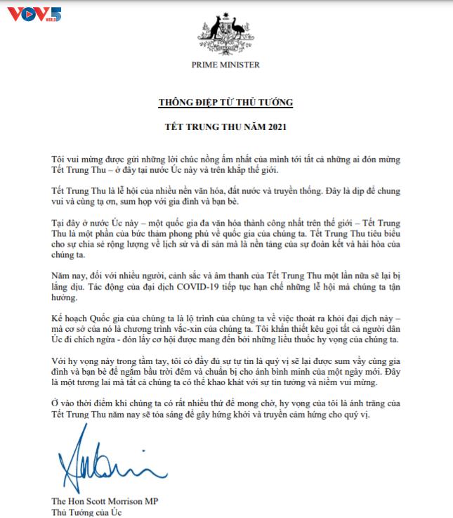 Thủ tướng Australia gửi thông điệp chúc Tết Trung thu bằng tiếng Việt - ảnh 1