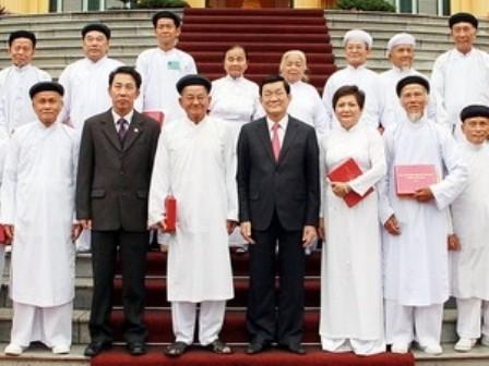 Chủ tịch nước Trương Tấn Sang tiếp Đoàn chức sắc lãnh đạo các Hội thánh Cao Đài