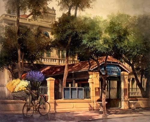 Pandangi Koleksi Lukisan Teramat Indah tentang Kota Ha Noi yang Dilukiskan dengan Rasa Cinta Pelukis di Kota Ho Chi Minh  - ảnh 1