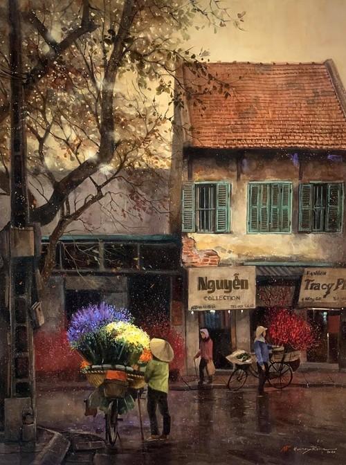 Pandangi Koleksi Lukisan Teramat Indah tentang Kota Ha Noi yang Dilukiskan dengan Rasa Cinta Pelukis di Kota Ho Chi Minh  - ảnh 3