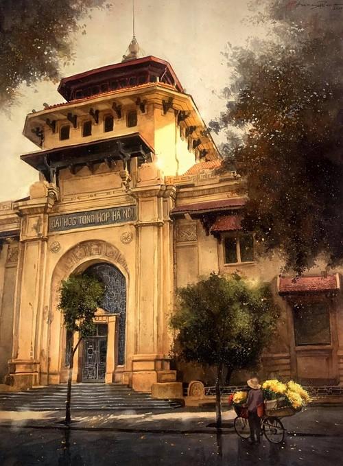 Pandangi Koleksi Lukisan Teramat Indah tentang Kota Ha Noi yang Dilukiskan dengan Rasa Cinta Pelukis di Kota Ho Chi Minh  - ảnh 2