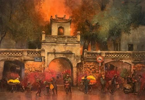 Pandangi Koleksi Lukisan Teramat Indah tentang Kota Ha Noi yang Dilukiskan dengan Rasa Cinta Pelukis di Kota Ho Chi Minh  - ảnh 10