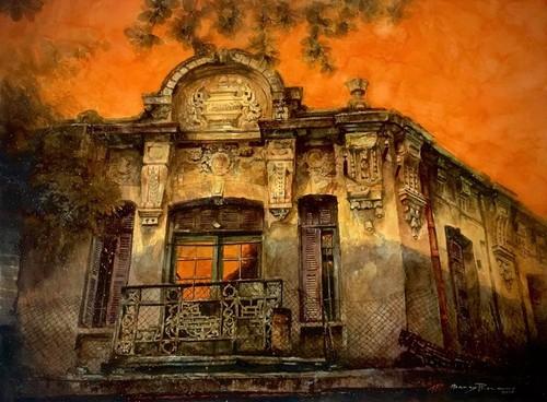 Pandangi Koleksi Lukisan Teramat Indah tentang Kota Ha Noi yang Dilukiskan dengan Rasa Cinta Pelukis di Kota Ho Chi Minh  - ảnh 8