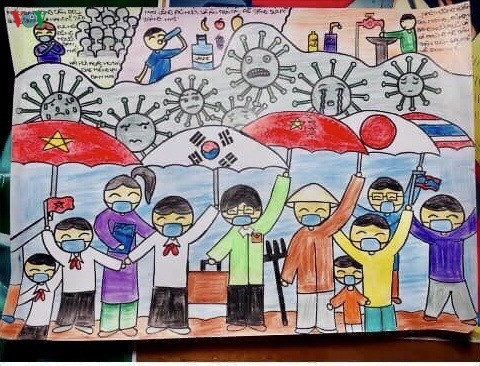 Can Tho students' paintings encourage people to fight COVID-19 - ảnh 13
