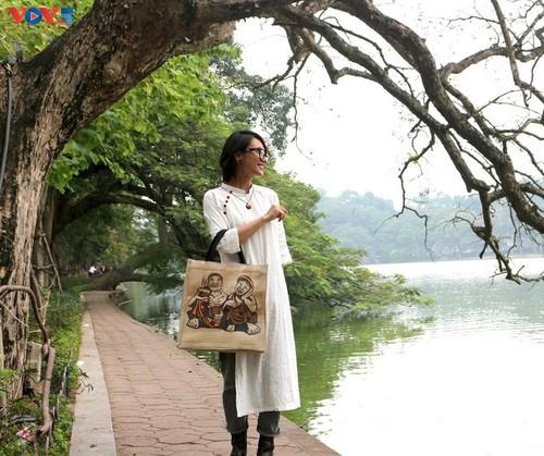 Marca local y ecológica en Hanói produce bolsos de arpillera - ảnh 7