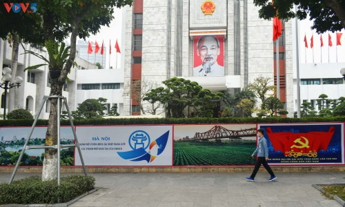 Hà Nội rực rỡ cờ hoa chào mừng Đại hội lần thứ XIII của Đảng - ảnh 5