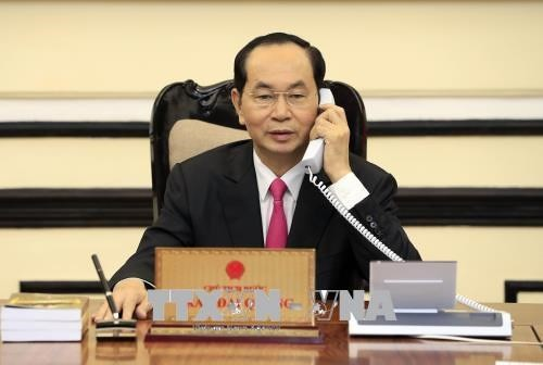 Presidente vietnamita conversa con su homólogo estadounidense - ảnh 1