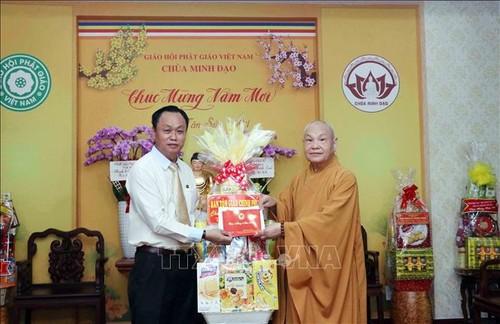 Vœux de Têt au président du Conseil d'administration de l'Église bouddhique du Vietnam - ảnh 1