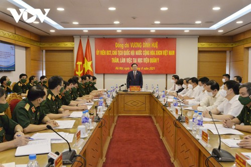 Chủ tịch Quốc hội: Học viện Quân y cần đẩy nhanh tiến độ sản xuất vaccine Nanocovax - ảnh 1