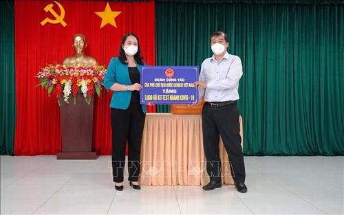 Phó Chủ tịch nước Võ Thị Ánh Xuân thăm lực lượng phòng, chống dịch COVID-19 tại Tây Ninh - ảnh 1