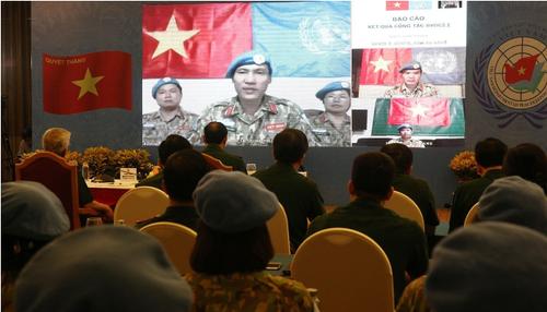 Hội nghị trực tuyến gìn giữ hòa bình Liên hợp quốc với các lực lượng Việt Nam tham gia hoạt động gìn giữ hòa bình LHQ - ảnh 1