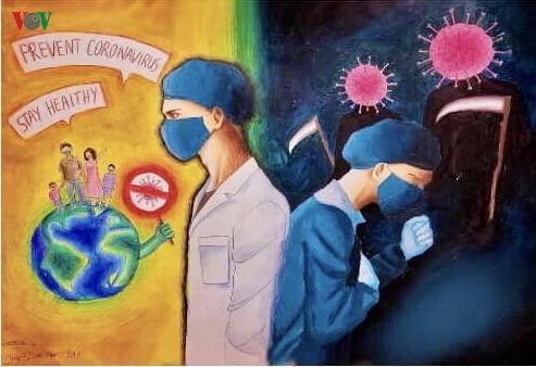 เด็กๆในนครเกิ่นเทอกับภาพวาดในสถานการณ์การแพร่ระบาดของโรคโควิด-19 - ảnh 10