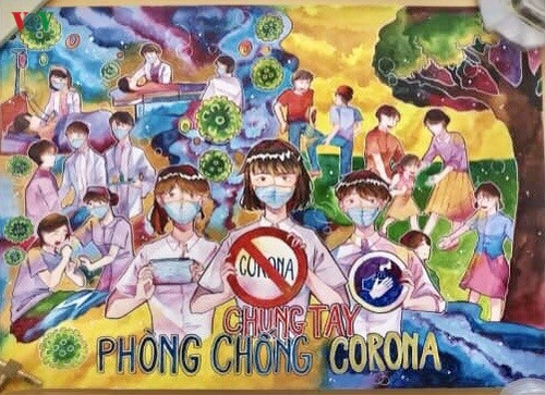 เด็กๆในนครเกิ่นเทอกับภาพวาดในสถานการณ์การแพร่ระบาดของโรคโควิด-19 - ảnh 2