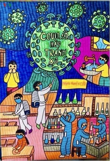 เด็กๆในนครเกิ่นเทอกับภาพวาดในสถานการณ์การแพร่ระบาดของโรคโควิด-19 - ảnh 4