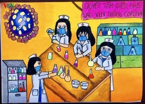 เด็กๆในนครเกิ่นเทอกับภาพวาดในสถานการณ์การแพร่ระบาดของโรคโควิด-19 - ảnh 7