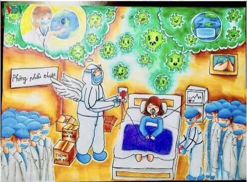 เด็กๆในนครเกิ่นเทอกับภาพวาดในสถานการณ์การแพร่ระบาดของโรคโควิด-19 - ảnh 9