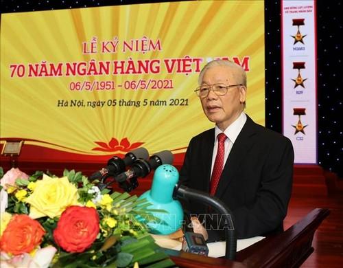 Líder del Partido Comunista de Vietnam exhorta mayores aportes del sector bancario al desarrollo económico - ảnh 1