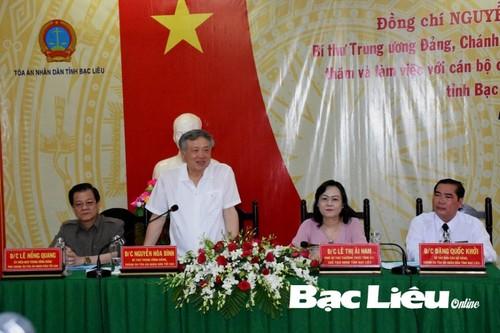 Chánh án Tòa án nhân dân tối cao Nguyễn Hòa Bình làm việc tại Bạc Liêu - ảnh 1