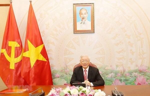 Máximo líder político de Vietnam conversa con su homólogo laosiano  - ảnh 1