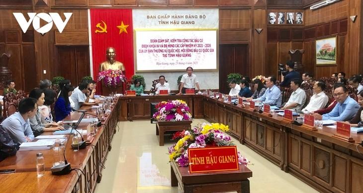 Inspeccionan trabajo electoral en la provincia de Hau Giang - ảnh 1