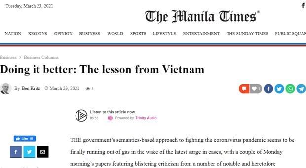 """菲律宾媒体:越南创造了抗击新冠肺炎疫情的""""妙招"""" - ảnh 1"""